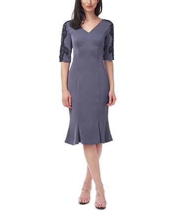 Платье с V-образным вырезом и пышной юбкой JS Collections