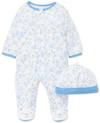 Мальчики 2-х шт. Хлопковая шляпа с принтом Тедди и комбинезон Little Me