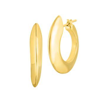 Дизайнерские широкие серьги-кольца из желтого золота 18 карат Roberto Coin