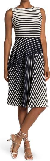 Sleeveless Multi Stripe Print Knit Jacquard Dress Gabby Skye