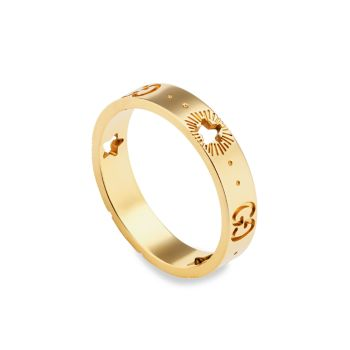 Icon 18K Yellow Gold Star Detail Ring GUCCI