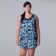 Plus Size Simply Vera Vera Wang Pajama Tank & Pajama Boxer Shorts Set Simply Vera Vera Wang