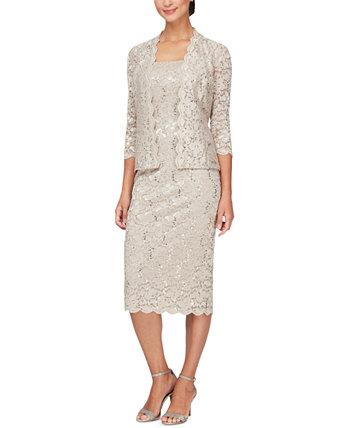 Кружевная куртка и платье миди SL Fashions