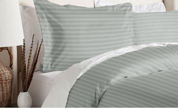 Комплект пододеяльника в полоску Platinum Damask Full / Queen Blue Ridge Home Fashions