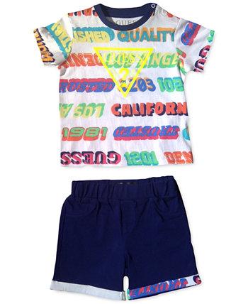 Комплект хлопковых футболок и шорт с логотипом для маленьких мальчиков GUESS