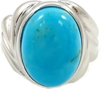 Серебряное кольцо с родиевым покрытием и бирюзой SAVVY CIE JEWELS