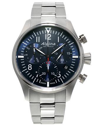 Мужские швейцарские часы с автоматическим хронографом Startimer Pilot из нержавеющей стали с браслетом 42 мм Alpina