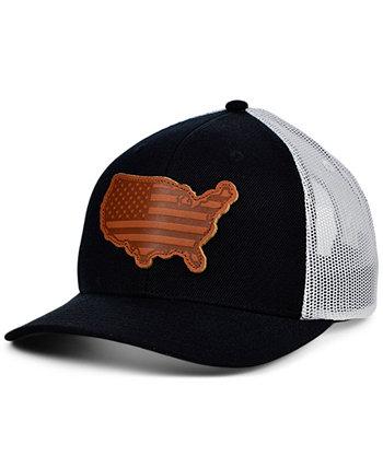 Местные короны Соединенные Штаты Америки Черная белая кожаная изогнутая кожаная кепка с нашивкой State Patch Lids
