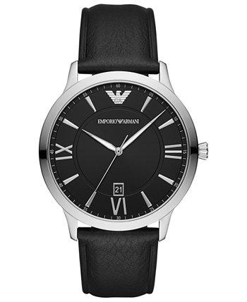 Мужские часы с черным кожаным ремешком 44 мм Emporio Armani