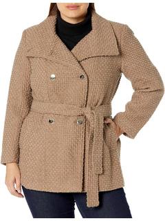 Женское двухслойное шерстяное пальто больших размеров Calvin Klein