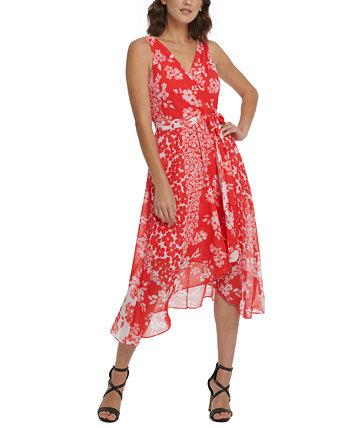 Облегающее платье миди с v-образным вырезом и поясом DKNY