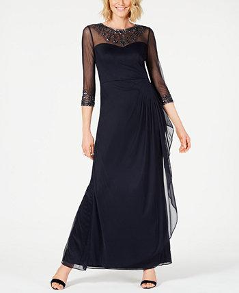 Платье трапециевидной формы с украшением Illusion Alex Evenings