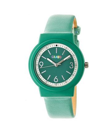 Унисекс Яркие зеленые часы с ремешком из искусственной кожи 36 мм Crayo