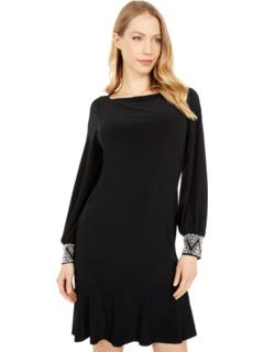 Платье с бисером и манжетами MARINA