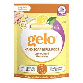 Gelo Liquid Gel Hand Soap Refill Pods - Lemon, Basil, Geranium, 50 fl oz Gelo