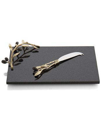 Золотая сырная доска с оливковой веткой и ножом MICHAEL ARAM