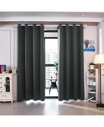 63-дюймовые оконные панели Delphi Premium с твердой изоляцией и термоизоляционными люверсами, дымчато-серый Elegant Home Fashions