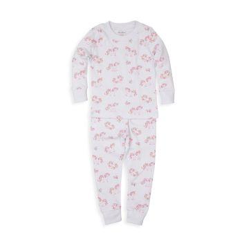Детские & amp; Пижамный комплект из двух предметов с принтом Little Girl's Unicorn Gardens Kissy Kissy
