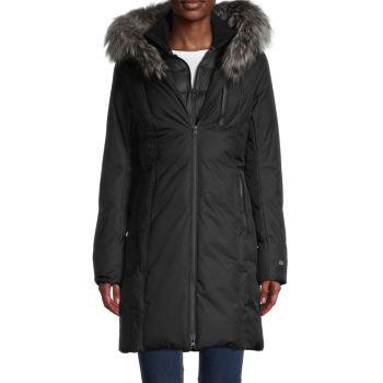 Пальто с меховой отделкой и пуховым наполнителем Soia & Kyo