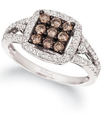Массивное квадратное кластерное кольцо с шоколадным бриллиантом и телесным бриллиантом (3/4 карата) из белого золота 14 карат Le Vian