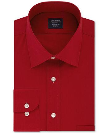 Мужская эластичная однотонная рубашка классического / стандартного кроя без железа Arrow