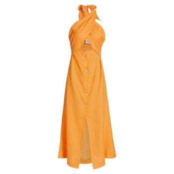 Платье Soffio из льна с лямкой на шее Nanushka