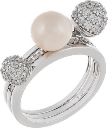 Шар из серебра 925 пробы с родиевым покрытием и кольцо с пресноводным жемчугом 8-9 мм с паве Splendid Pearls