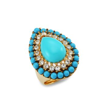 22K Goldplated, Turquoise-Color Cabochon & Crystal Teardrop Ring Kenneth Jay Lane