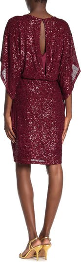 Платье-футляр с широкими рукавами и пайетками MARINA