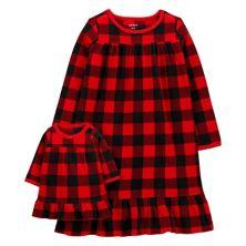 Girls 4-14 Carter's Buffalo Check Nightgown & Matching Doll Gown Carter's