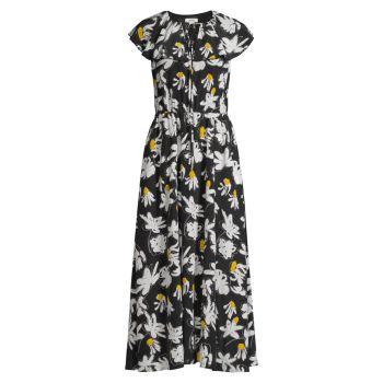 Daisy Silk Flutter Midi Dress Jason Wu