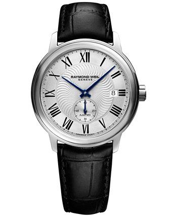 Мужские швейцарские автоматические часы Maestro с черным кожаным ремешком 40 мм 2238-STC-00659 Raymond Weil