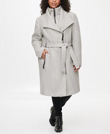 Пальто большого размера с отделкой из искусственной кожи с поясом, создано для Macy's Calvin Klein