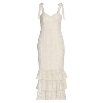 Кружевное платье-миди без рукавов ML Monique Lhuillier