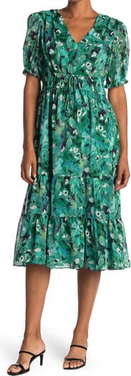 Tiered Watercolor Print Dress Maggy London