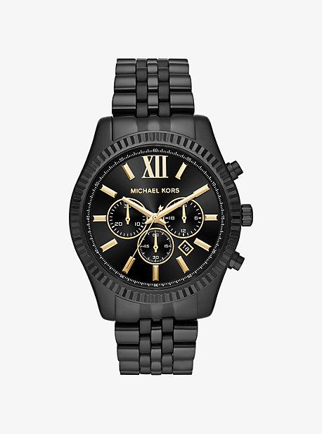 Oversized Lexington Black-Tone Watch Michael Kors