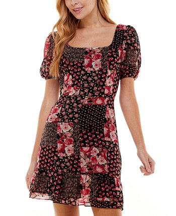 Юниорское платье с пышными рукавами и расклешенным принтом City Studios