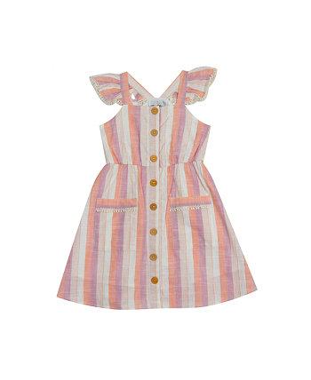 Платье в полоску для маленьких девочек с развевающимися рукавами Rare Editions