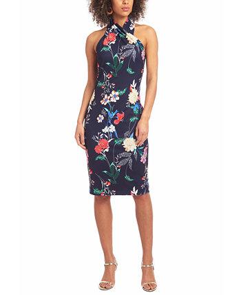 Rachel Roy Women/'s Cold-Shoulder Printed Midi Dress