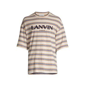 Полосатая футболка с вышитым логотипом Lanvin