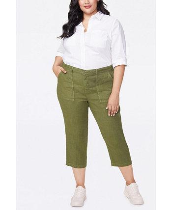 Женские брюки большого размера из эластичного льна в практичном стиле NYDJ