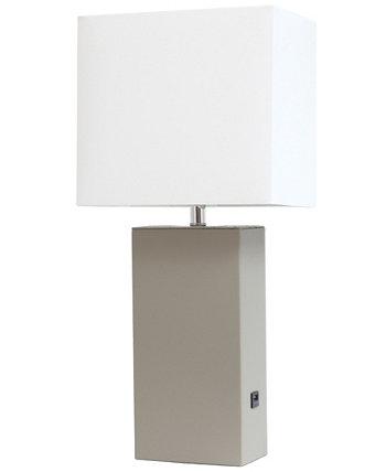Современная кожаная настольная лампа с USB-портом Elegant Designs