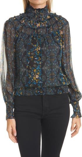 Шелковая блуза с принтом Janie Mix Ramy Brook