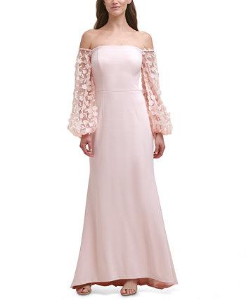 Платье с открытыми плечами и сетчатыми рукавами Eliza J