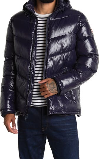 Chevron Colorblock Hooded Puffer Jacket GUESS