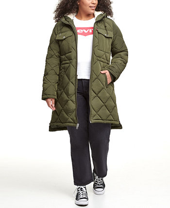 Модная длинная куртка-парка с капюшоном и стеганой ромбами больших размеров большого размера Levi's®