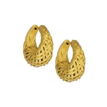 Плетеные серьги-кольца Bali с покрытием из желтого золота 22 карат DEAN DAVIDSON