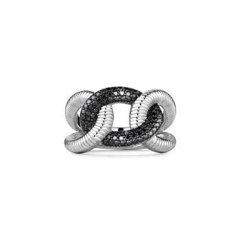 Eternity Sterling Silver & amp; Кольцо с блокировкой из черной шпинели Judith Ripka