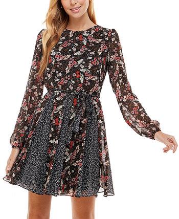 Юниорское платье с пышной юбкой с цветочным принтом и смешанным принтом City Studios