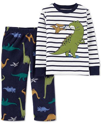 Малыши Мальчики 2 шт. Пижамный комплект с верхом в полоску с динозавром и низом в виде динозавра Carter's